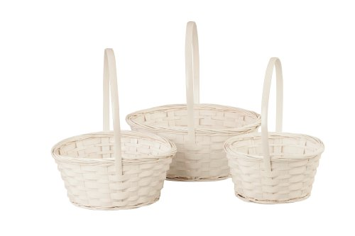 Wald Imports White Bamboo Decorative Storage Basket, Set of 3