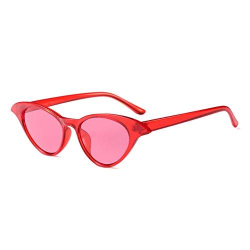 Roja sol Huicai Sexy Pieza Eyewear Gafas Ladies Roja de Vintage Small Women Eye Sunglasses Cat ZwUC8ZxOq
