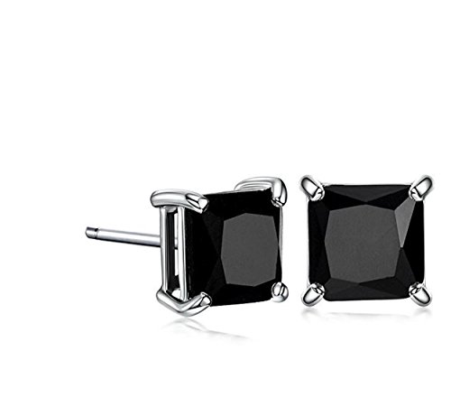 teel Studs Earrings Men Women 6x6 Square Princess Cut Basket Setting Black Cubic Zirconia Hypoallergenic Earrings ()