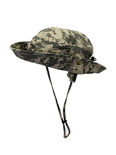 LLmoway Men Packable Camo Bucket Hat Sun Protection Safari Hat with Adjustable Strap Grass Green