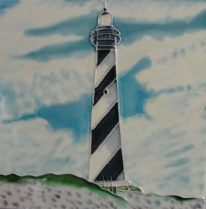 Cape Hatteras Lighthouse Light House Ceramic Wall Art Tile 8x8