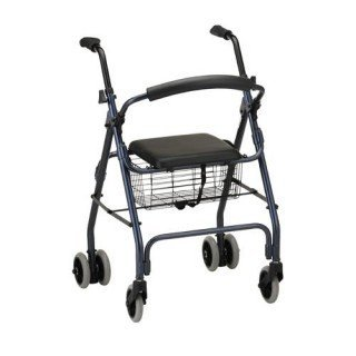 Brake Push Down Rollator (Rollator - Blue Rollator with Push Down Brake # Lightweight aluminum frame # Handles are adjustable for different heights # Removable front basket # 5