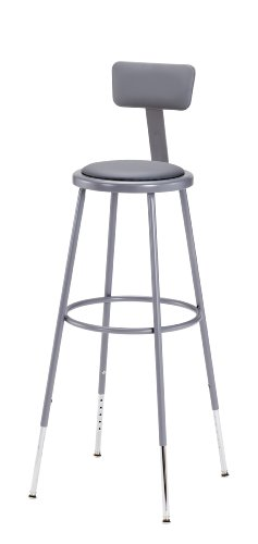 National Public Seating 6430HB-CN Steel Stool with Vinyl Upholstered Seat Adjustable and Backrest, 31''-39'', Grey (Pack of 3) by National Public Seating