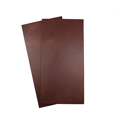 Hide & Drink, Thick Leather Rectangles (6 x 12 in.) 2 Piece Set for Crafts/Tooling/Hobby Workshop, Heavy Weight (3-3.5mm) :: Bourbon Brown