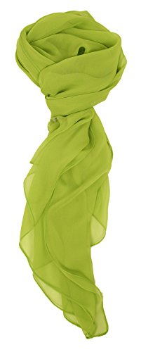 Love Lakeside Modern Chiffon Solid Color Silk Blend Oblong Scarf Lime -