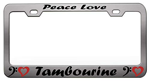 Hopes's Christian License Plate Frame Aluminum Metal Car License Plate Cover for US Standard Front or Back License Tag, 2 Holes and Screws - Peace Love Tambourine Music and Instruments ()