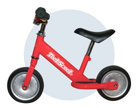 TootScoot II Balance Bike for Kids, Red
