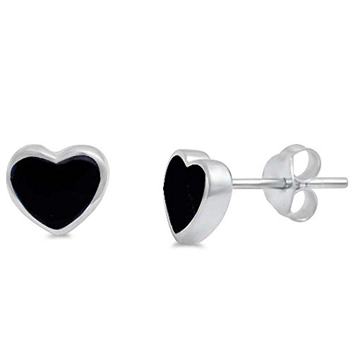 Simulated Black Onyx Heart Shape .925 Sterling Silver ()