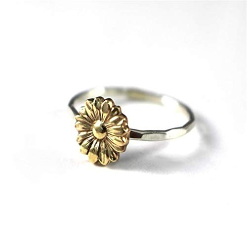 TraveT Antiqued Sunflower Rings Vintage Flower Engagement Ring Retro Floral Boho Rings for Women Bridal Wedding Ring Gift Fashion Wedding Band Ring Size 6-10,7#