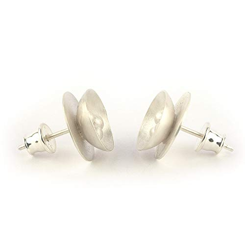 Sterling Silver Stud Earrings button shaped 0.47 inches in diameter