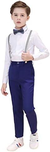 男の子の Suspender スーツ ボーイズスーツ4ピーススリムフィッ,サスペンダー、ズボン、シャツ、ボウタイ