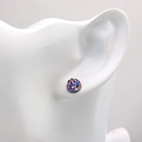 Purple//Teal Blue Faux Druzy Earrings Plastic Posts Gunmetal Burgundy 8mm Trio
