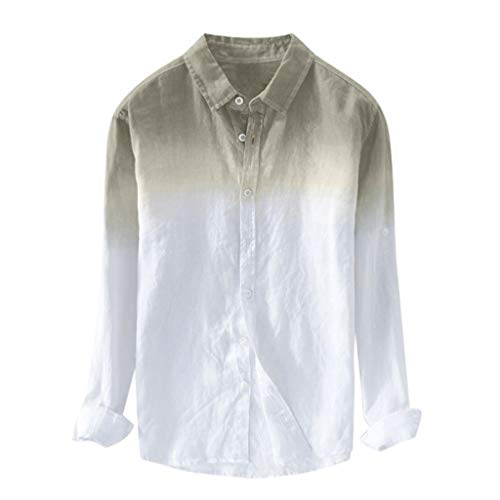 VEZAD Summer Men Breathable Lapel Collar Hanging Dyed Gradient Cotton Shirt]()