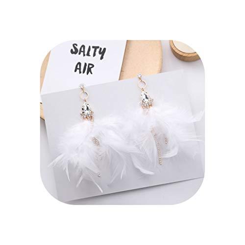 - New Korean Romantic Sweet Purple Pink Feather Dangle Earrings For Lady Long Zircon Tassel Feather Drop Earrings For Women,White