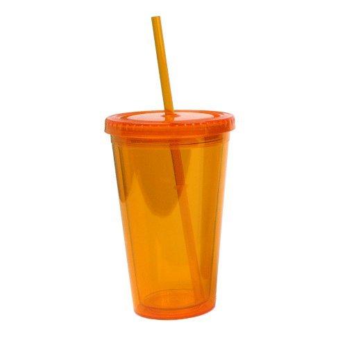 Eco To Go Cold Drink Tumbler - Double Wall -16oz. Capacity - Orange