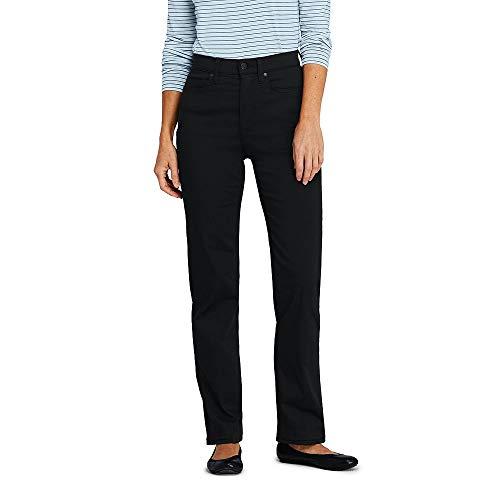 Lands' End Women's High Rise Straight Leg Black Jeans, 8 30, Deep Black -