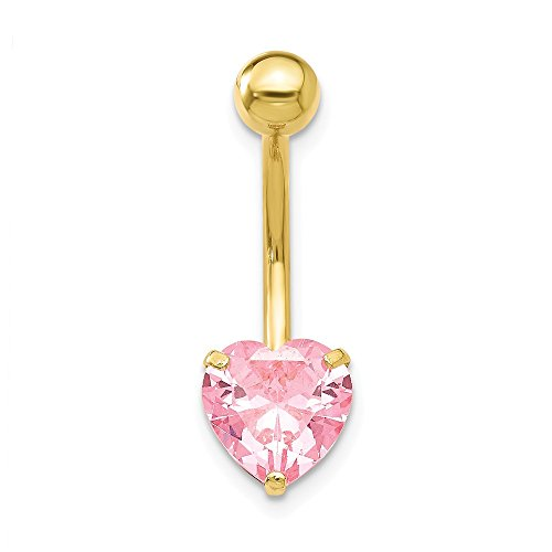 (Jewelryweb Solid 10k Yellow Gold 8mm Pink Cubic Zirconia Heart Belly Ring Dangle (8mm x 24mm) )