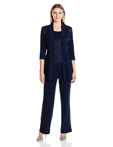 Pant Plus Suits Size Womens (R&M Richards Women's Lace Pant Set, Navy, 16)