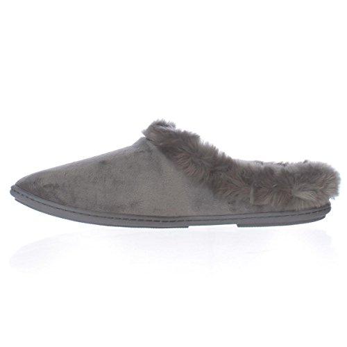 Pantofola Da Charter Donna In Microfibra Velour Clog Slipper Grigio Scuro