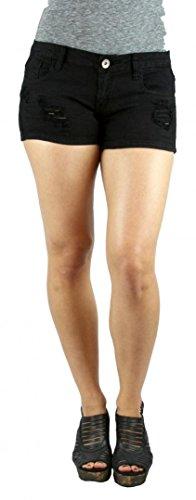 Machine Jeans Black Destroyed Distressed Denim Cutoff Shorts - Waist S