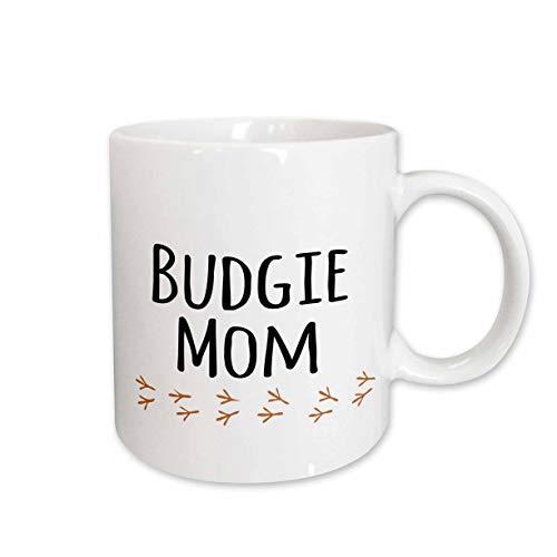 3dRose (mug_154036_1) Budgie Mom - budgerigar pet owner for her female parakeet lover - parrot - text with bird footprints - Ceramic Mug, 11-ounce