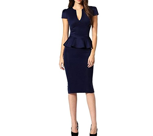 Sianaoi New Womens Long Sleeve Peplum V-Neck Pencil Knee Length Sexy Ruffle Midi Office Plus Size Kim Kardashian Dress Dark Blue Short M (Kardashian-shop Online-uk)