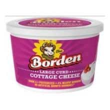 Borden Large Curd Cottage Cheese, 16 Fluid Ounce -- 6 per case.