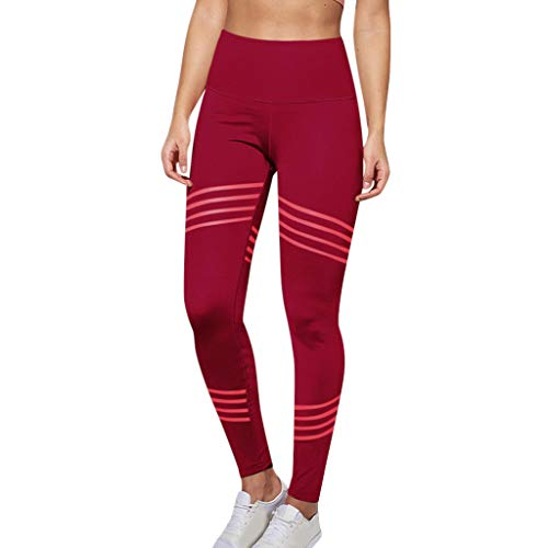 Women's Casual Solid Tummy Control Leggings Twill Hip Exercise Fitness Running Yoga Pants Soft Slim Pants nikunLONG Red