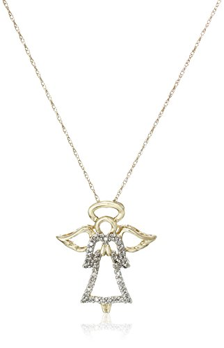 14k Yellow Gold Diamond Angel Pendant (1/8 cttw, I-J Color, I2-I3 Clarity), ()