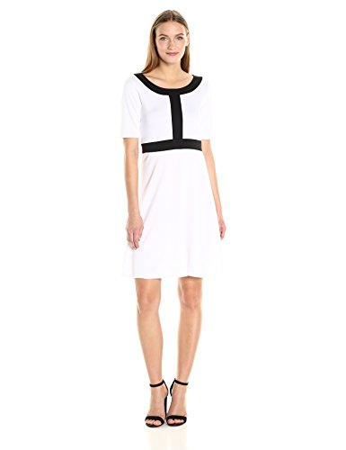Star Vixen Women's Short Sleeve Solid Strech Fit-n-Flare Dress With Black Colorblock Outline, White/Black, XL - Colorblock 2 Piece Dress