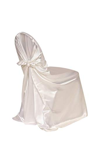 Chair Tie Self Cover - Your Chair Covers - 4 Pack Satin Self-Tie Universal Chair Cover White, Pillow Case Slipcovers for Chairs in Weddings and Events
