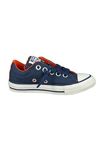 Converse Chuck Taylor All Star Junior Street Leather Shearling Mid, Unisex-Kinder Sneaker Grau - Navy/Papaya White