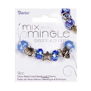 Set of 9 Coordinated Blue Beach Themed Large 5mm Hole European Charm Beads Set Crafting Key Chain Bracelet Necklace Jewelry Accessories Pendants ()