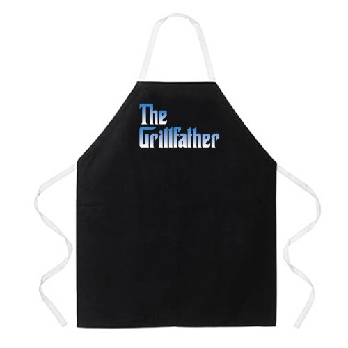 "Attitude Aprons Fully Adjustable ""The Grillfather"" Apron, Bl"