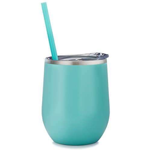 Mint - 12 oz Stainless Steel Wine Tumbler Sippy Cup with Lid and Straw