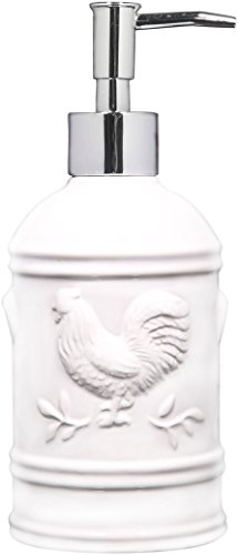 (TableTop by HE Ceramic Rooster Soap Dispenser- Lotion Dispenser for Kitchen or Bathroom Countertops in Aqua, Red or White (White))