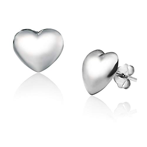 Big Apple Hoops - Genuine 925 Sterling Silver Love Hollow Puffed Heart Stud Earrings I in 3 Finishes (Silver, Yellow Gold and Rose Gold)