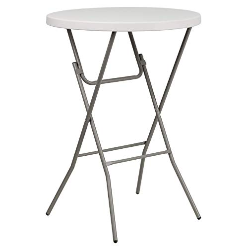(Flash Furniture 32'' Round Granite White Plastic Bar Height Folding Table [RB-32RB-BAR-GW-GG] (Renewed))
