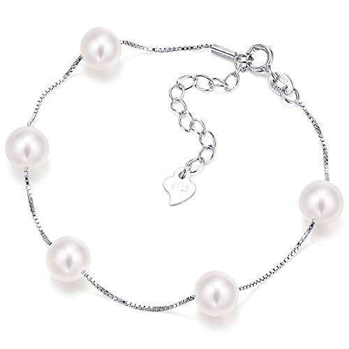 Chain Mother Of Pearl Bracelet - Fine Jewelry Women Gifts for Women 925 Sterling Silver Pearl Chain Adjustable Bracelet