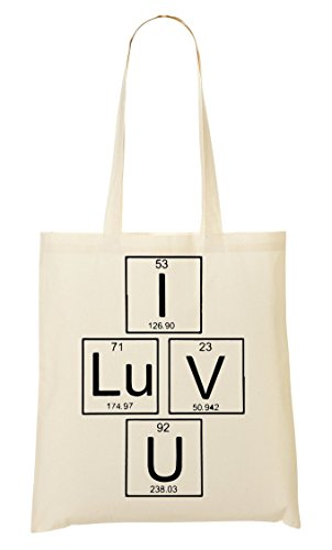 I Luv You Cool Periodic Table Element Handbag Shopping Bag