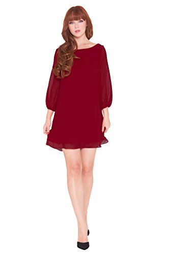 Olian Maternity Dresses - Olian Leah Chiffon Maternity Tunic Dress - Wine - Small