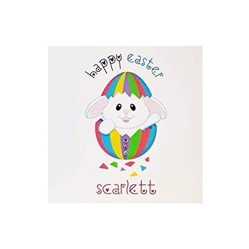 HAPPY EASTER BUNNY PERSONALISED CARD - Handmade children's cute Easter bunny greeting card. Personalised with children's name. Easter Sunday. Easter egg FREE POSTAGE