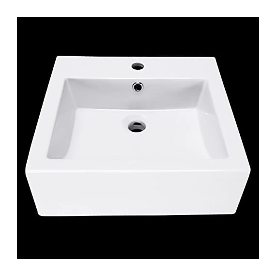 WinZo WZ6087 Square Bathroom Vanity Sink,White Porcelain Ceramic Vessel Art Basin - ◇Sleek European inspired modern contemporary design with overflow in high quality smooth ceramic ensures your durable & scratch-resistant lifetime use. ◇Nano-self-cleaning glaze, Above the counter installation and maintaining clean, gently wipe to restore light. ◇1280 ° high temperature firing, porcelain high density, low water absorption, no easy to scratch, durable use. - bathroom-vanities, bathroom-fixtures-hardware, bathroom - 31ba3%2Brz2eL. SS570  -