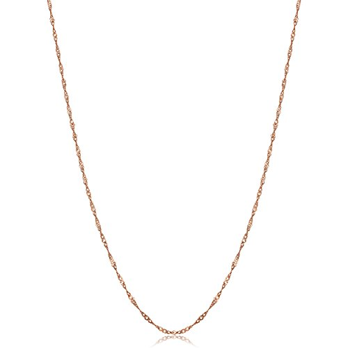 Gold 10k Rose Necklace (Solid 10k Rose Gold Dainty Singapore Chain Necklace (0.85mm, 18 inch))