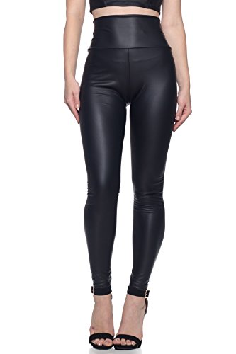 J2 LOVE Made in USA Women's Faux Leather Hiigh Waisted Leggings (also in Plus Size), Medium, Black]()