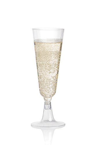 Wedding Party Toasting Flute - DRINKET Plastic Champagne Flutes 5oz Cups Toasting Glasses 2 Piece Champagne Flutes Set Bulk 100 Disposable Pk Shatterproof for Wedding Mimosa Bar Wine Party Supplies