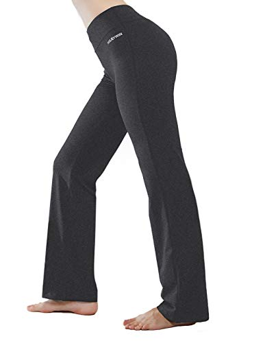 HISKYWIN Inner Pocket Yoga Pants 4 Way Stretch Tummy Control Workout Running Pants, Long Bootleg Flare Pants Dark Grey-L ()