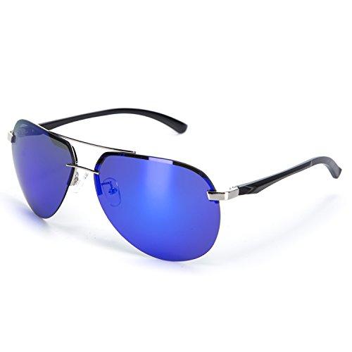 YJMILL 2018 New Big Sport Wayfarer Polarized Sunglasses For Men Women Blue 8058 (Blue, - De Lentes Armazones