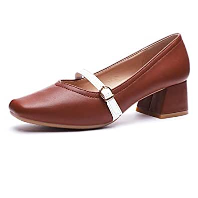 CINAK Ophelia Women's Mid Heel Dress Pumps - Square Toe One Band Strap Formal Pump Shoes Brown