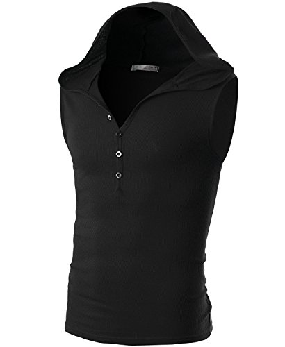 Ohoo Mens Slim Fit Hooded Sleeveless Hoodie Henley Button Ribbed Tank Top /DCT008-BLACK-L
